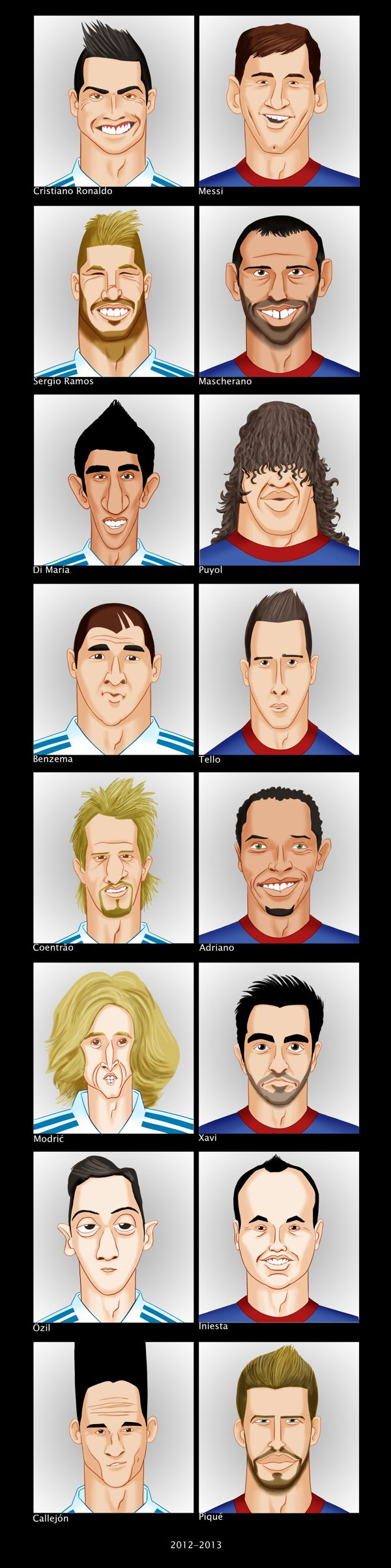Small caricatures of football players. by Gorka Aranburu S., via Behance