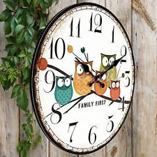 Large Vintage Rustic Shabby Chic Retro Kitchen Wooden Owl Wall Clock Decor Gifts
