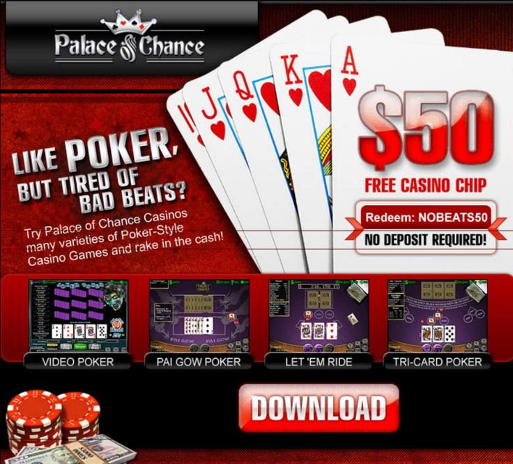 Palace of Chance Casino | Get $50 Free to play Video Poker