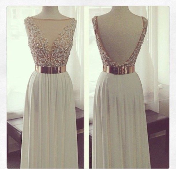 Custom Made A Line Backless Long Prom Dresses, Backless Evening Dresses
