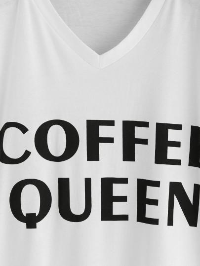 coffee queen printed tee, white tee, plain white t shirt with coffee queen print, trendy printed top - Lyfie