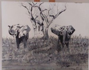Elephants in Acrylic