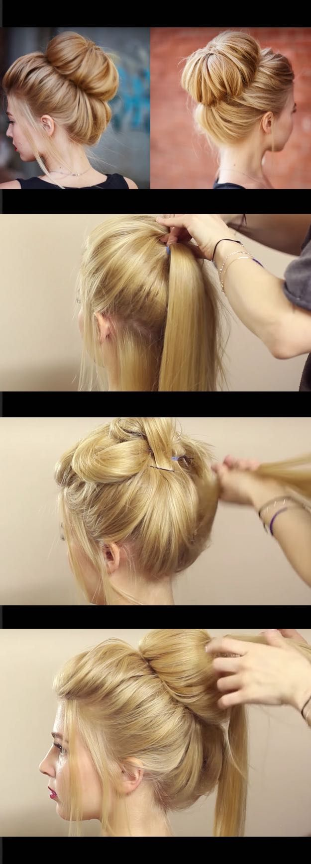 Quick and Easy Hairstyles for Straight Hair - Chic textured bun updo for prom wedding - Popular Haircuts and Simple Step By Step Tutorials and Ideas for Half Up, Short Bobs, Long Hair, Medium Lengths Hair, Braids, Pony Tails, Messy Buns, And Ideas For Tools Like Flat Irons and Bobby Pins. These Work For Blondes, Brunettes, Twists, and Beachy Waves - https://www.thegoddess.com/easy-hairstyles-straight-hair