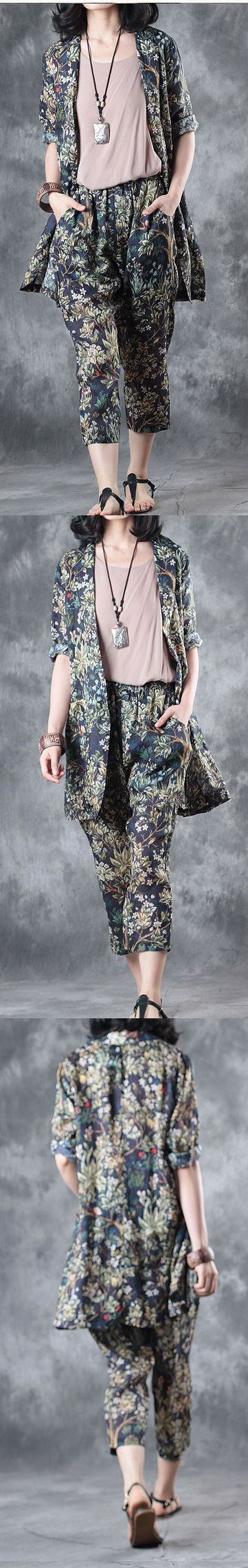 2017 stylish tops and pants peace tree linen cardigans casual crop pants