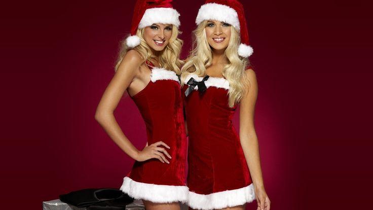 costumes, holiday, blonde, new year, cute, happy santa girls