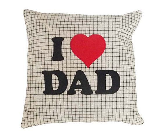 I Love Dad Word Pillow Text Message for Father's Day by PillowThrowDecor,