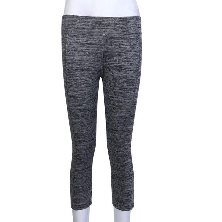 Womens Yoga Pants 3/4 Length High Waist Yoga Gym Leggings Fitness Stretch Sport Pants Gray Blue Purple Green Rose Red