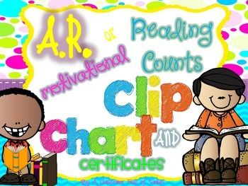 AR or Reading Counts Motivational Clip Chart and Certifica