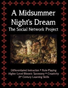 """This assignment is titled """"A Midsummer Night's Dream: The Social Network,"""" an excellent form of differentiated instruction to teach one of Shakespeare's most famous comedies.   We hear a lot these days about how our students enjoy communicating with one another on sites like Facebook, Foursquare, Tumblr, and Twitter.   This assignment is essentially a character analysis assignment in the form of a """"mock social network."""""""