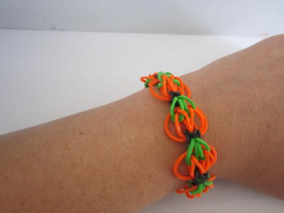 Pumpkin Rainbow Loom Bracelet for sale