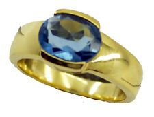 shapely Blue topaz CZ Gold Plated Blue Ring supplies US 6789