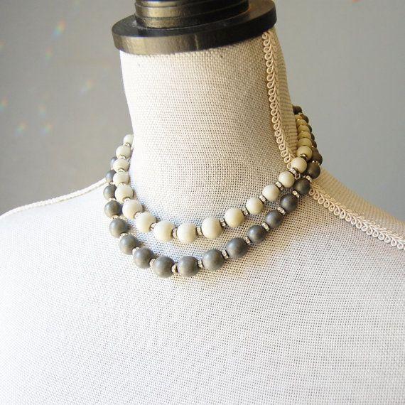 1950s West Germany Necklace Signed Vintage German Shades of Grey Stone Beads Rhinestone Double Strand Choker