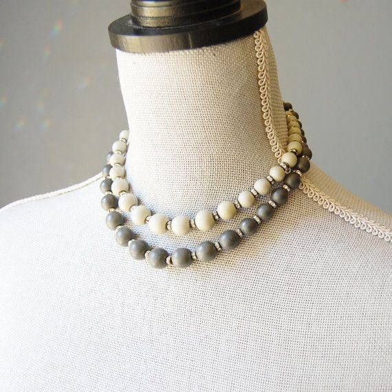 1950s West Germany Necklace Signed Vintage German Shades of Grey Stone Beads Rhinestone Double Strand Choker