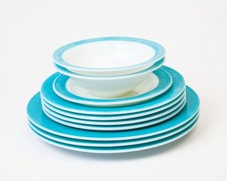 Vintage Pyrex Turquoise and White Dish Set