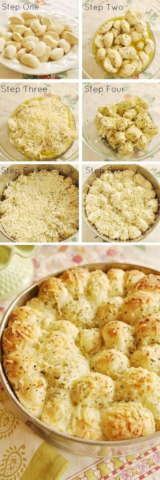 Knoblauch-Käse-Pull-Apart-Brot 16 gefrorene weiße Brötchen (Marke Rhodos) ½ C …   – Dinner