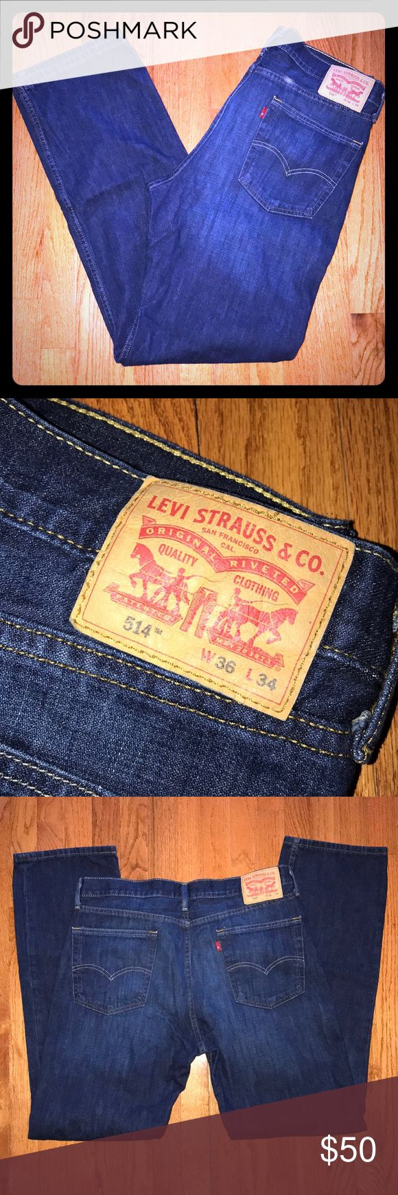 Men's Levi's 514 Jeans 36/34 Men's Levi's 514 Straight Leg Jeans Size 36 waist, 34 inseam. Zipper fly. Dark Blue Wash. Like New!  From my smoke free home. Levi's Jeans Straight
