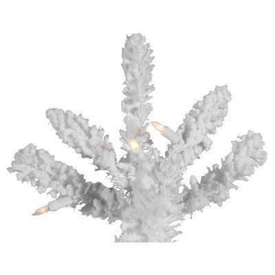 7.5' Flocked White Slim Artificial Christmas Tree with Clear Lights