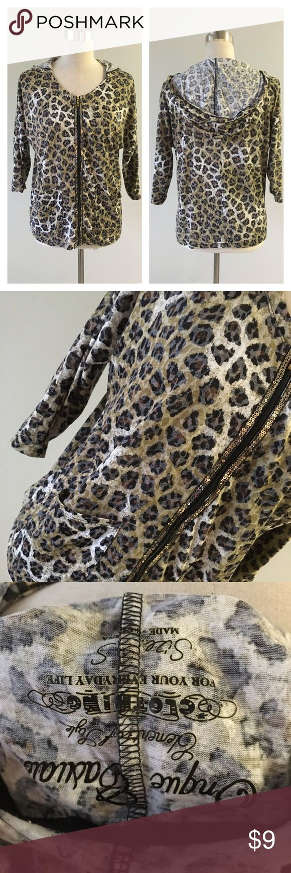 Animal Print Lightweight Sequin Zip Up Hoodie Animal Print Lightweight Sequin Zip Up Hoodie. Size small. In great condition. Please see pictures. Thank you for looking at listing. Feel free to ask questions :)!   ✨⭐️️Bundle and save!⭐️✨10% off 2 items, 20% off 3 items & 30% off 5+ items!   •Sorry no trades. •No modeling. •No Low balls 🙅🏻 please and thank you! DB Onque Casuals Tops Sweatshirts & Hoodies