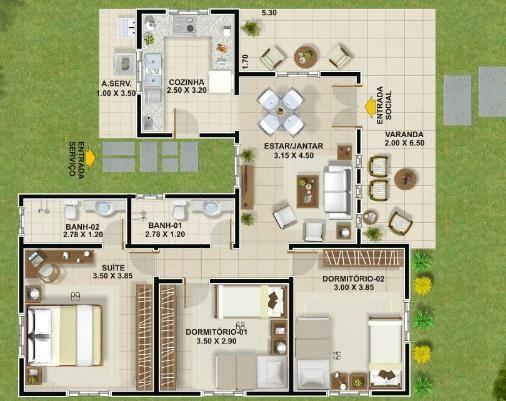 """004 Plano de casa de 100 metos cuadrados – 3 dormitorios – 1 Piso. Este plano de casa muestra en su primer piso sus 100 metros cuadrados habitables aproximadamente compuestos por una amplia cocina, living, comedor, terrazas amplias, cómodas y confortables, 3 dormitorios, 2 cuartos de baño 1 compartido y el otro para la habitación en """"suite"""".:"""