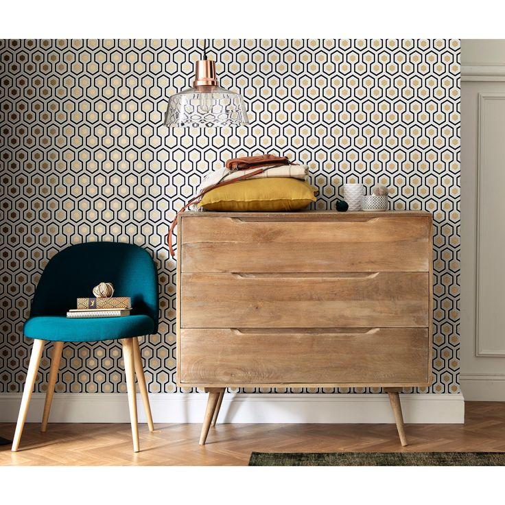 Chaise vintage en tissu et bouleau massif bleu pétrole Mauricette | Maisons du Monde