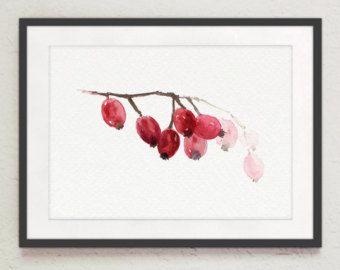 Hagebutten-Kunstdruck, Rosa Canina Watercolor Painting, rot rosa Blumen Heimtextilien, abstrakt blumen Küche Wand Dekor, Hagebutten-Früchte