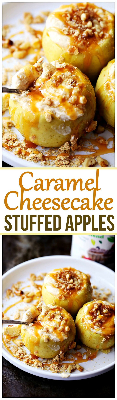 Lighter Caramel-Cheesecake Stuffed Baked Apples