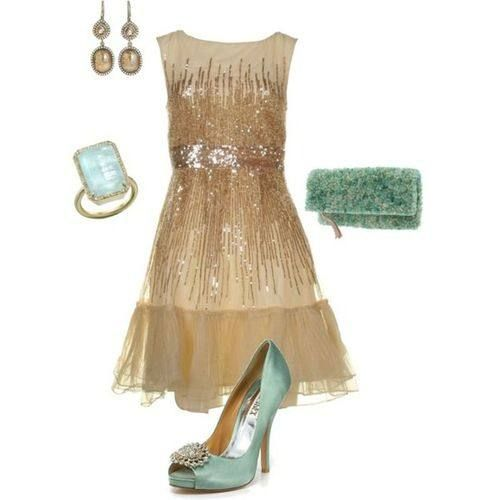 Love this gold and seafoam color combo! Perfect outfit for a wedding or special occasion.