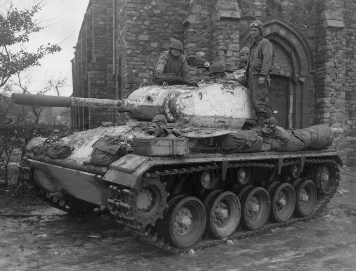 American light tank M24 «Chaffee» (M24 Chaffee) 14th Mechanized Cavalry Group USA in Petit-Thiers (Petit-Thier), Belgium