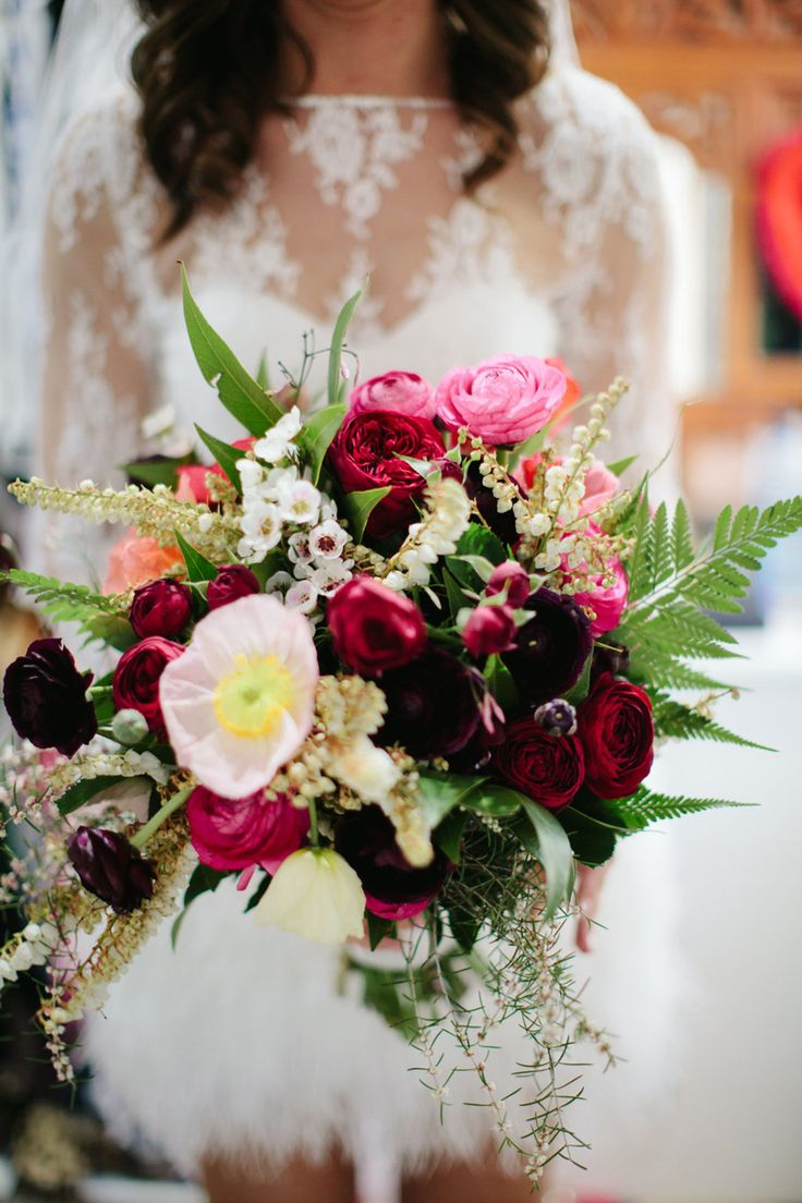 pink poppy and ranunculus wedding bouquet