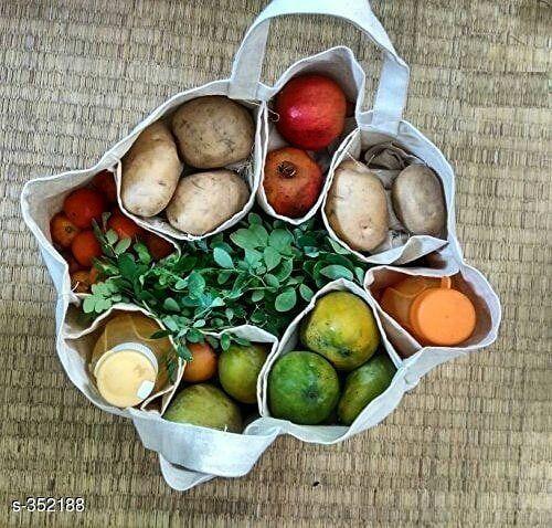 _ Multi Pockets Vegetable Cloth Bag _ Material: Cotton _ Size: (L x B x H) – 13 … – ElisaZunder