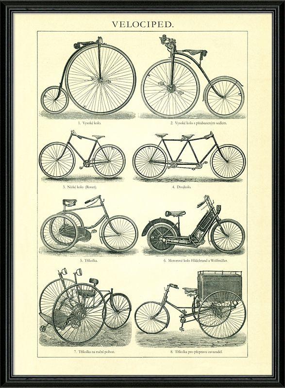 Nádherná kresba, vývoj bicyklů od vysokého kola až po první pokusy o motorizaci bicyklu - motorové kolo.