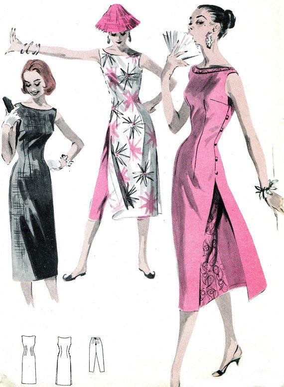 1950s Dress Pattern Butterick 7790 Womens Cheongsam Dress Evening Gown Cheongsam Tunic and Cropped Pants Vintage Sewing Pattern Bust 34 via Etsy