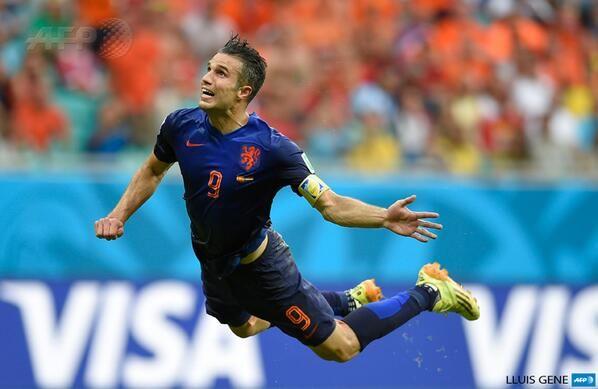 Robin Van Persie, forward, Netherlands, Manchester United, amazing header goal against Spain in 2014 World Cup.