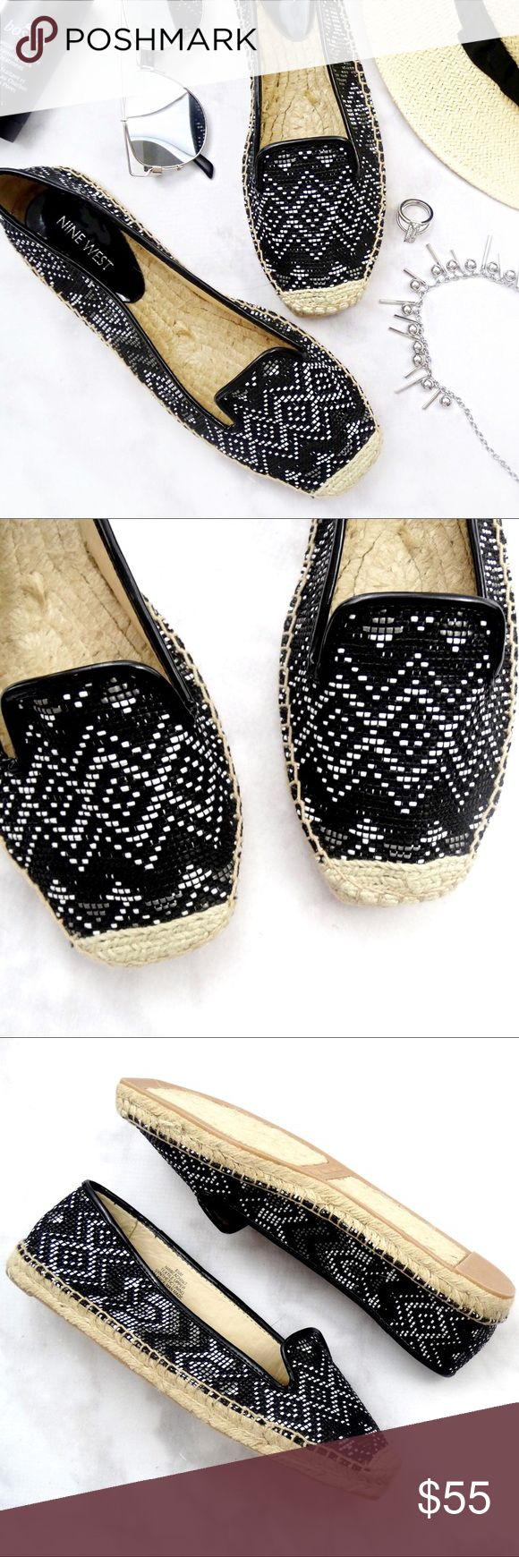 Black and White Geometric Printed Espadrille Flats Details: * Size 8.5 * Textile upper * Black, white, and gray/pewter geometric print  * New in box  05281707 Nine West Shoes Espadrilles