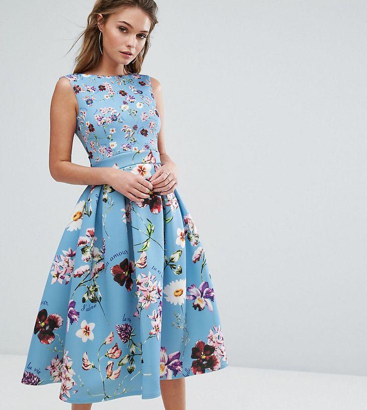 True Violet Floral Debutante Midi Dress With Full Circle Skirt - Multi