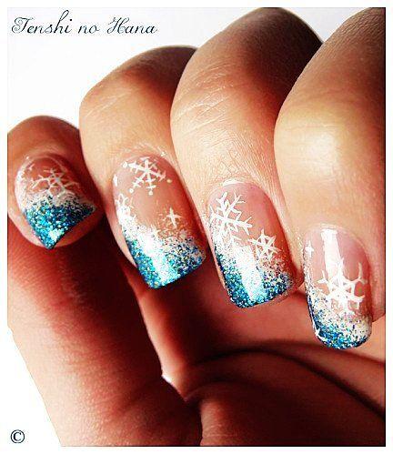 Blue sparkling winter nail art