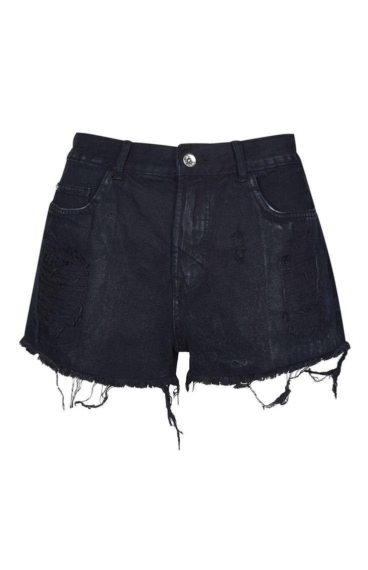 Black High Waist Distressed Shorts