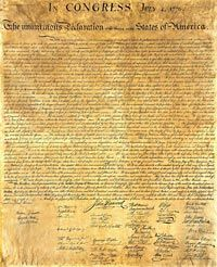 On every July 4th, we take time to read the Declaration of Independence out loud.  Each person who comes to the party (even the kids who can read!) is given a slip of paper with part of the Declaration or the names of some signers and we read it together as a group.  It's very powerful tradition and a reminder of why our country is independent.