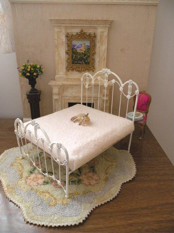 "Dollhouse Miniature 1:12 Scale Artisan Undressed Wrought Iron Bed ""Kate"""