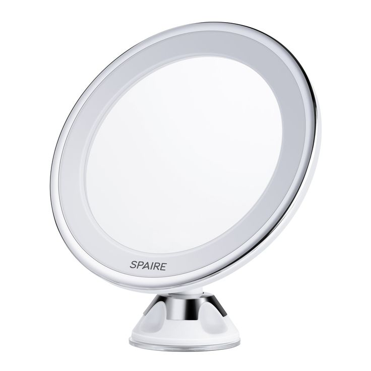 spaire lighted vanity makeup mirror 7x magnifying led bathroom mirror with locking suction 360 degree swivel rotation battery operated for bathroom vanity