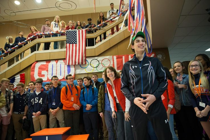 """Oak Park and River Forest High School students gathered for a flurry of congratulations and chants of """"U-S-A"""" Friday morning, when the school held a brief send-off for Olympic speedskater and high school senior Emery Lehman."""