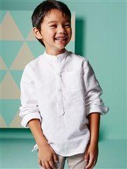 Camisa con cuello mao de lino y algodón niño