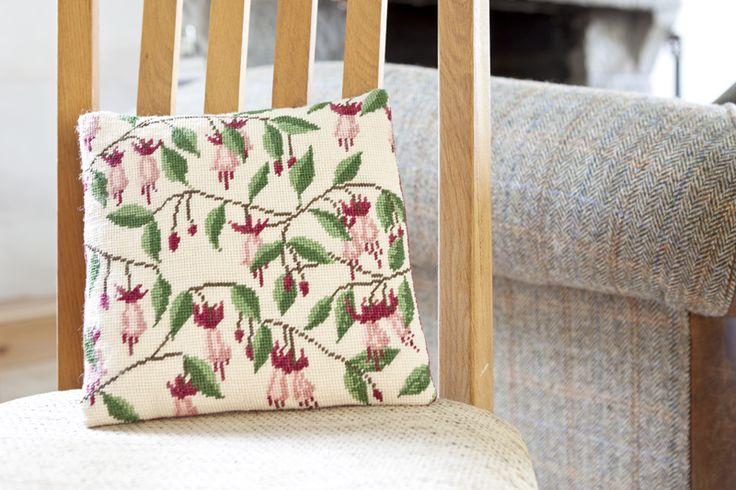 Fuchsia Herb Pillow needlepoint kit by Cleopatra's Needle