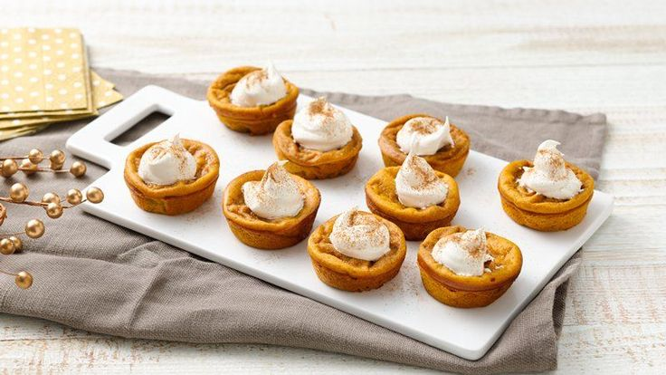 Ready in 50 minutes, these delicious mini pumpkin pies topped with whipped topping are a wonderful dessert – that's made using Original Bisquick® mix.