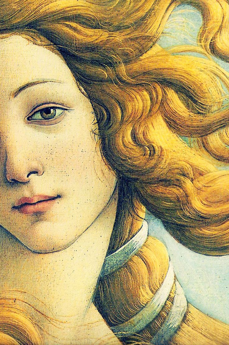 Birth of Venus (detail) by Sandro Botticelli, 1486. Tempera on panel
