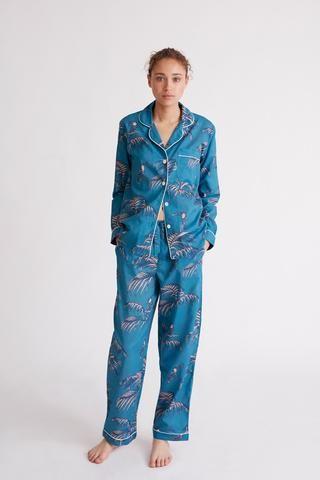 Bocas Print Long Luxury Cotton Womens Pyjama Set - Azure Blue