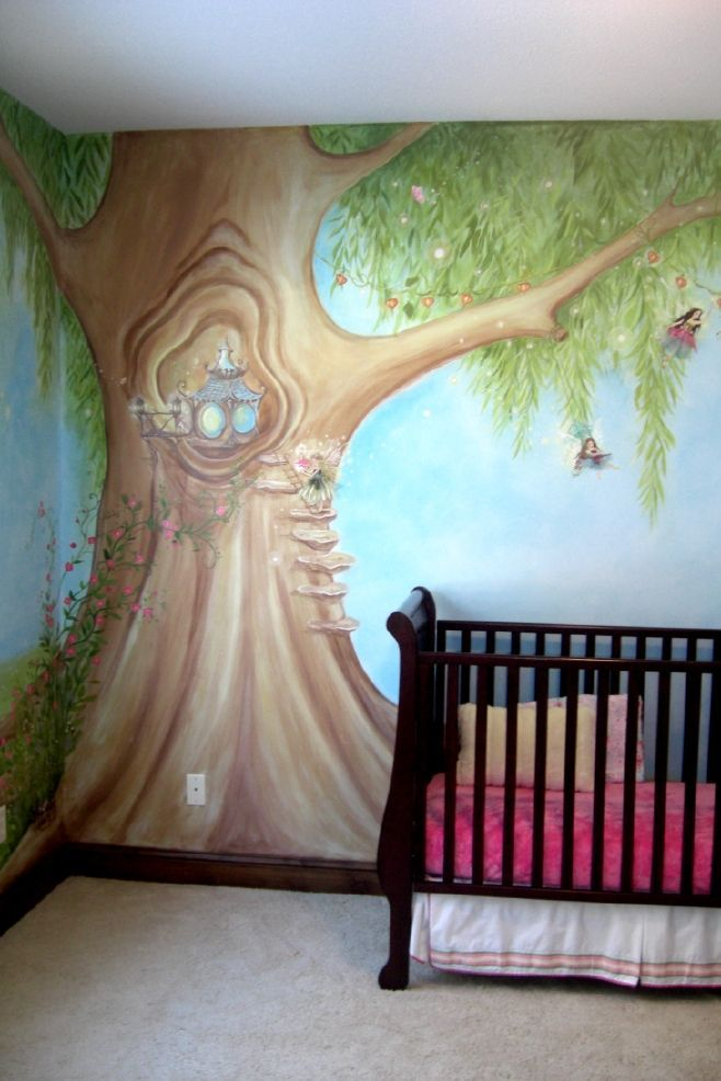 Fairy tree nursery wall mural second view mural idea as for Baby nursery tree mural