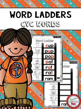 I am so excited to have 100 followers  on TPT! This freebie is my way of saying Thank You!Students will start at the bottom of the word ladder and change one letter at a time to spell the next word. These worksheets are a great way to build students decoding, phonics, spelling, and vocabulary skills.