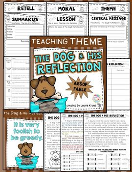 Are you teaching your students how to determine the theme, moral, lesson, and central message of a story? This product provides your students with many opportunities. Students will use text evidence, identify the theme, understand vocabulary, identify story elements, and practice retelling/summarizing. Aesop's fables are a wonderful way to teach these important skills. The Dog and His Reflection is a perfect fable with a wonderful theme.
