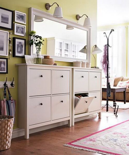 This should be narrow enough for hallway (ikea)... and good for storage. Not sure if it will clutter up the space. It might be a pain to install-- might need to be anchored to the wall.